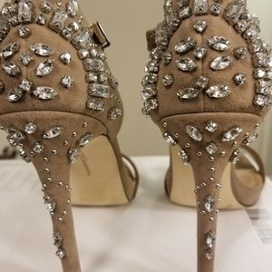 BCBG Glam Estelle Taupe Shoes with Rhinestones